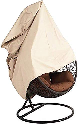 DJSC Hanging Chair Protective Cover, Waterproof Great Egg Chair Cover Basket Swing Seat Covers Outdoor Furniture Cover Patio Hanging Chair Cover Garden Rattan Wicker Swing Chair Cover Beige Individual
