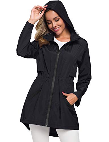 Avoogue Womens Plus Size Raincoats Waterproof Windbreaker Trench Rain Coat Black XXL