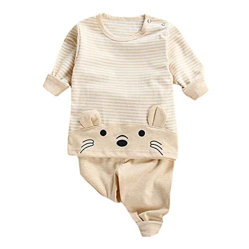 0-3 Months Baby Girl Boy Clothes,Toddler Kids Baby Boys Girls Animal Cartoon Pajamas Tops Pants Clothes Set Yellow