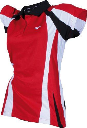 VICTOR Damen Bekleidung Polo Function 6843, rot/weiß/schwarz, 32, 684/3/2