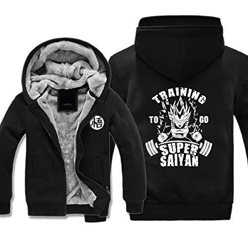 Preisvergleich Produktbild Mempire Herren Kapuzenpullover Sweatjacke mit Reißverschluss Vegeta Training Super Saiyan Gemustert Sweatshirt Plus Samt (E, 5XL)
