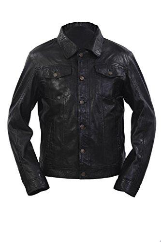 Infinity Trucker Casual in Pelle Nera Camicia Jeans Giacca da Uomo 2XL