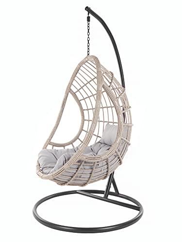 Kideo Set completo: poltrona sospesa con struttura e cuscino, in polyrattan, grigio/beige (cuscino: grigio Chesterstepp (8008 Cloud))