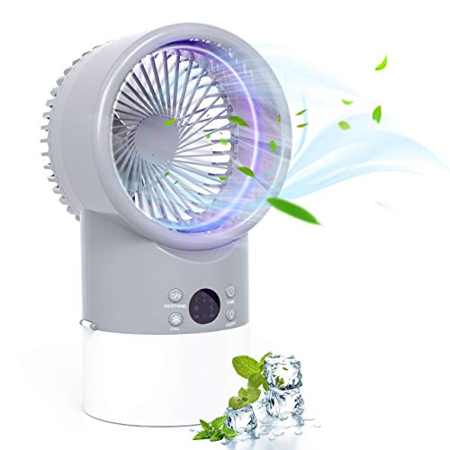 TedGem Mobile Klimaanlage Mini Luftkühler, Mobile Klimaanlage Leise, Air Cooler Klimagerät Mini 4 in 1 Ventilator, Luftbefeuchter, 3 Geschwindigkeiten, 7 LED Luftkühler Klein für Zuhause und Büro