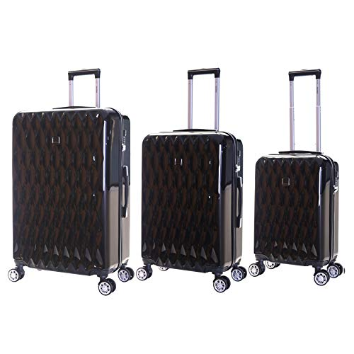 Karabar Set of 3 Hard Polycarbionate PC Suitcases Luggage Bags Small Carry-on Cabin, Medium and Large ABS Shell Sets with 4 Spinner Wheels and Integrated TSA Number Lock, Diamond Black