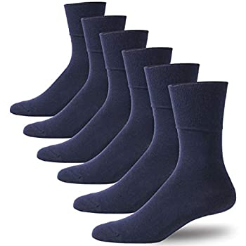 Forcool Non Binding Diabetic Socks Moisture Wicking Dry Fit Comfortable Cushioned Cotton Dress Diabetic Extra Roomy Socks for Men Women 6 Pairs Navy Blue Large