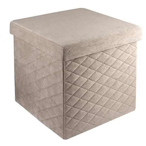 Baroni Home Pouf Cubo Poggiapiedi Sgabello Contenitore Pieghevole in Velluto Imbottito Beige 38x38x38 cm