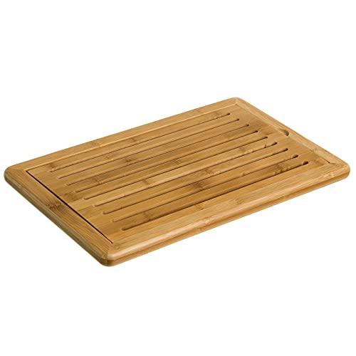 MGE - Tabla para Cortar el Pan - Tabla con Rejilla Extraíble para Migas - Bambú - 38 x 24 cm
