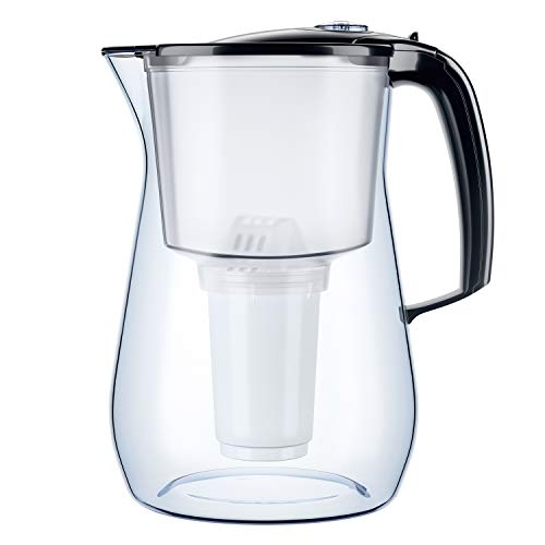 AQUAPHOR Provence schwarz inkl. 1 A5 Filterkartusche-Premium-Wasserfilter in Glasoptik zur Reduzierung von Kalk, Chlor & Schwermetallen, Kunststoff, Volumen 4,2 l