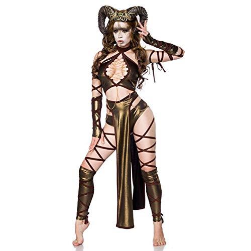 Sexy Succubus Kostüm Damenkostüm Teufel Monster Halloween Braun Karneval Hörner