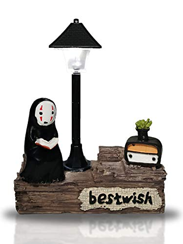 Cute Studio Ghibli Miyazaki My Neighbor Totoro Figurine with Night Lamp Light Action Figure Toys for Children Gift for Home Garden Decoration (No Face Man)