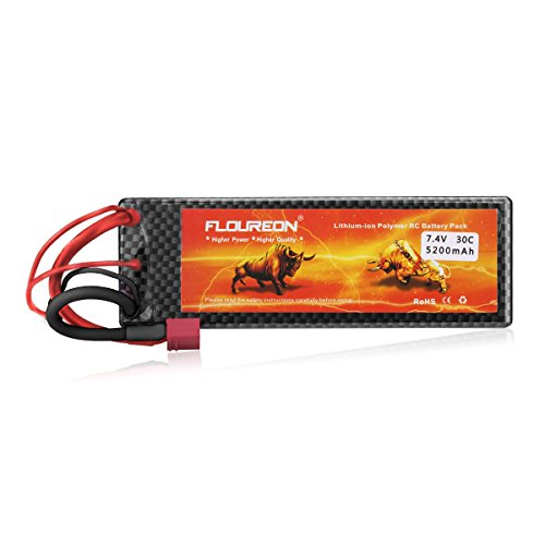 Floureon 7.4V 5200mAh High Power 2S 30C Lipo Battery with Dean-Style T Connector for RC Car Buggy Truck Truggy Drone and FPV (5.45 x 1.85 x 0.98 Inch)