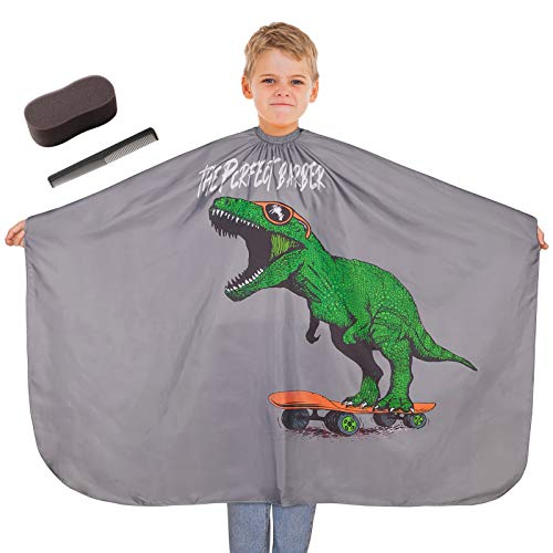 MHJY Kids Haircut Barber Cape Cover with Sponge Brush and Comb,Dinosaur Hair Cutting Apron for Boys with Adjustable Closure