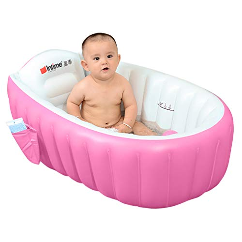 Skyshc Inflatable Baby Bathtub Portable Travel Bath Tub Blow Up Wash Basin for Toddler Non Slip(Pink)