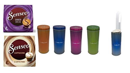 Aufbewahrungs- Metalldose - Kaffeepaddose orange hält die Pads länger frisch - Chóco Break + Cappuccino Pad Dose für Senseo Pads - edle Vorratsdose für Pads in 4 Metallic Farben mit Padheber