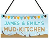 RED OCEAN Personalised Mud Kitchen Sign Garden Outdoor Hanging Plaque Allotment Plot Gift Sign