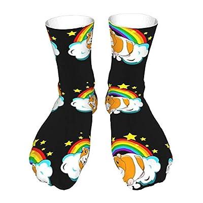 Calcetines para adultos, calcetines largos de algodón, calcetines gruesos de tacón negro, calcetines cálidos, unisex, 101 cm, cobaya, cobaya, unicornio, arcoíris