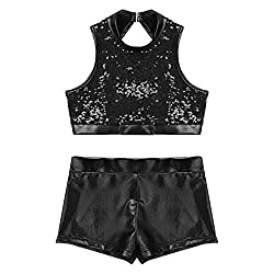 Cutout Back Black 2-Piece Active Sequin Top and Booty Short