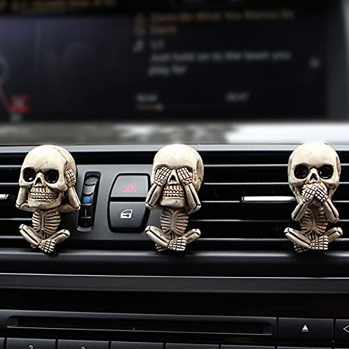 Juego de 3 estatuas para coche con ambientador, diseño de calavera malvada
