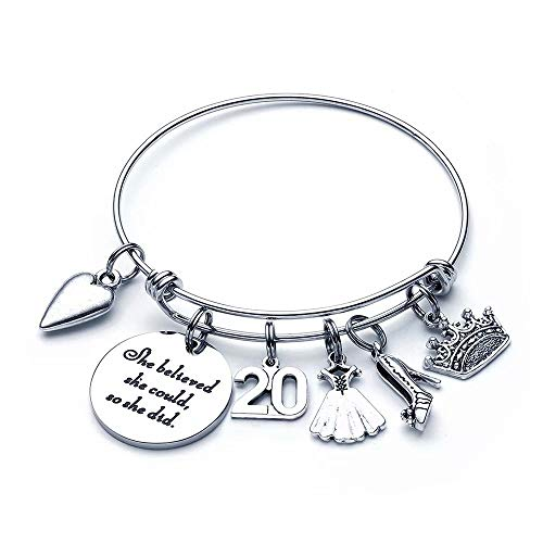 20th Birthday Gifts for Women Daughter - Charm Bracelets 20 Birthday Gifts for Women Her Daughter Granddaughter in Law Bestfriend Sister Inspirational Graduation Gifts Christmas Birthday Present
