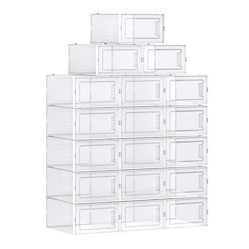 SONGMICS Shoe Boxes, Set of 18 Shoe Storage Organizers, Stackable and Foldable for Sneakers, Fit up to US Size 8.5, Transparent and White ULSP18SWT