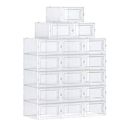 SONGMICS Schuhboxen, 18er Set, Aufbewahrungsboxen für Schuhe, Schuh-Organizer, Kunststoffboxen, faltbar und stapelbar, für Schuhe bis Größe 42, transparent-weiß LSP18SWT