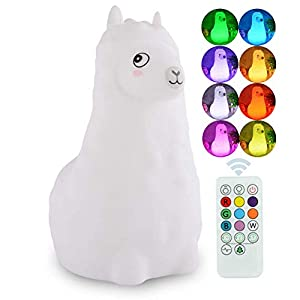 ATOMFIT LED Nursery Night Lights for Kids: Cute Animal Silicone Baby Night Light with Touch Sensor and Remote – Portable and Rechargeable Infant or Toddler Cool Color Changing Bright (Llama)