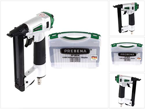 Prebena DNPF16 Luftdruck Druckluftnagler Drucklufttacker + PF-BOX Heftklammern 9.000 Stk