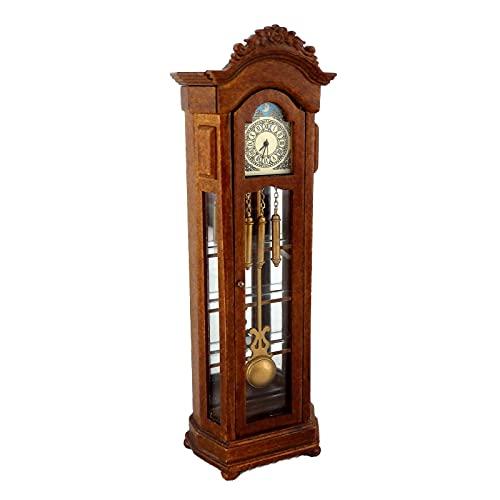 Melody Jane Dollhouse Working Walnut Grandfather Curio Clock Miniature JBM Hall Furniture