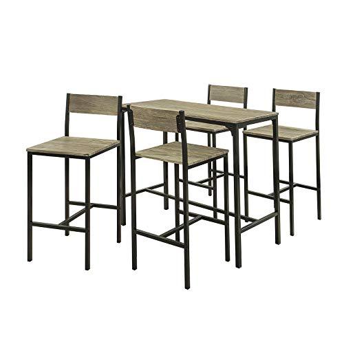 SoBuy® OGT14 Bartisch Set 5-teilig Sitzgruppe Esstisch Bistrotisch mit 4 Hockern