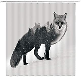 BCNEW Fox Shower Curtain Decor Snow Forest Creative Animal Decorative Bathroom Curtain Polyester Fabric Machine Washable with Hooks 70x70 Inches
