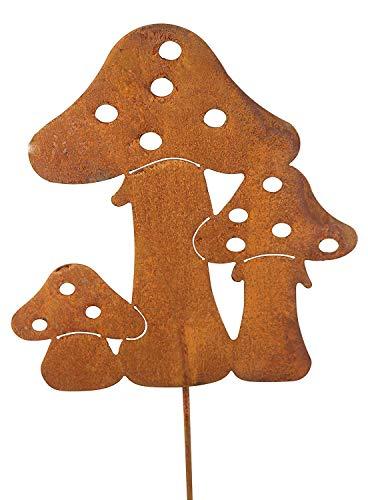 Bornhöft Gartenstecker Pilz Set Metall Rost Gartendeko 60cm Edelrost rostige Gartendekoration (Riesen Pilz)