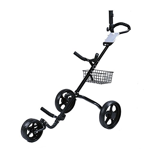 Learn More About Sdcvopl-SPORT Foldable 3 Wheels Golf Bag Trolley Push&Pull Golf Cart with Brake and Scorecard Soft Grip Handle