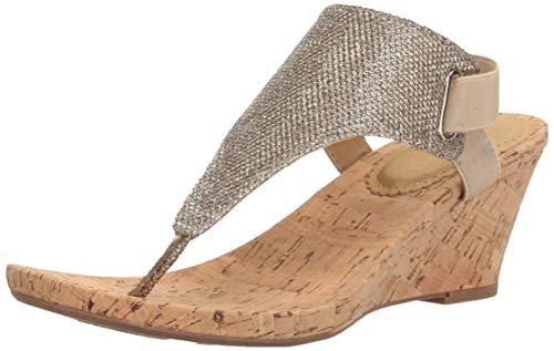 White Mountain Shoes All Good Women's Cork Wedge Sandal, Ltgold/Glitter, 9 M