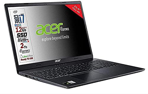 Acer SSD, Intel i7 1065g7 4 núcleos, RAM 12 GB DDR4, SSD PCI NVMe de 1 TB + 1 TB, pantalla de 15,6 pulgadas Full HD, SVGA GEFORCE MX330 DEDICATA, USB, WiFi, HDMI, Windows 10 Pro, listo para usar