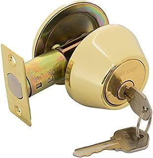 Lock Star Single Cylinder Deadbolt, Polished Brass Heavy Duty US3 .Backset Adj (Polished Brass)