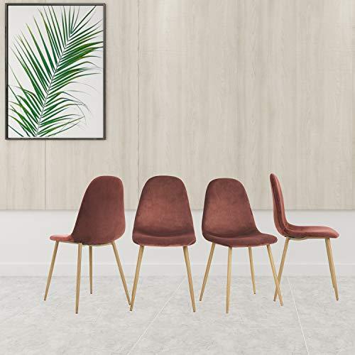 FurnitureR Juego de 4 sillas de Comedor para Cocina, sillas Laterales Modernas de Mediados de Siglo, Silla de Comedor tapizada de Terciopelo con Patas de Metal Ros