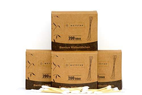 MEYSTAR Bambus Wattestäbchen 4er Pack (800 Stück), Q-Tips biologisch abbaubar, vegan & plastikfrei I Für einen umweltfreundlichen Lebensstil
