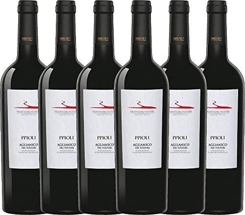 VINELLO 6er Weinpaket Rotwein - Pipoli Aglianico del Vulture DOC 2018 - Vigneti del Vulture mit Weinausgießer | trockener Rotwein | italienischer Rotwein aus Basilikata | 6 x 0,75 Liter