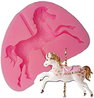 Cacys-Store - 1 pc Cute Carousel Horse Silicone Fondant Mold Cake Decor Chocolate Gum
