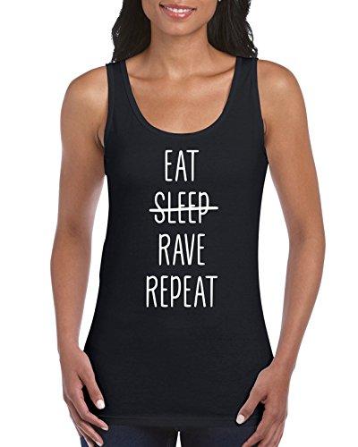 TRVPPY EAT Sleep Rave Repeat - Camiseta de tirantes para mujer, talla Tallas: S-XXL. Negro  L