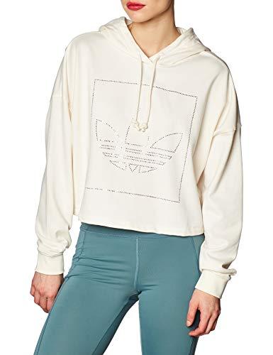 adidas Damen Crop Hoodie Sweatshirt, Chalk White, 40