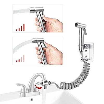 LOHNER Sink/Kitchen Faucet Bidet Sprayer Attachment Set With Brass Diverter Valve, Handheld Stainless Steel Water Spray Kit For Self-clean,Pet Clean, Diaper Sprayer