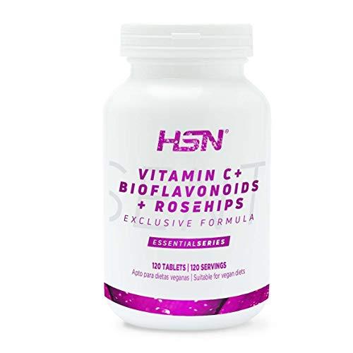 Vitamina C 1000mg de HSN | Suministro 4 Meses | Con Bioflavonoides Cítricos + Rosa Mosqueta | Antioxidante, Producción de Colágeno, Absorción Hierro | Vegano, Sin Gluten, Sin Lactosa, 120 tabletas
