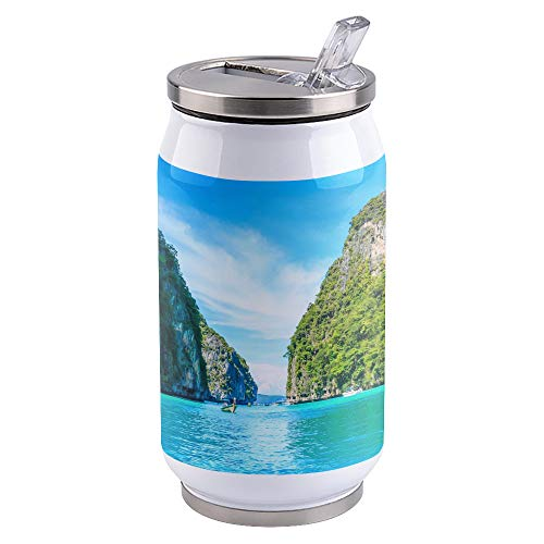 300ml Landscape Design Stainless Steel Vacuum Insulated Tumbler, Double Wall Insulated Travel Mug with Splash-Proof Lid and Straw, Cliff Lake View Mountains