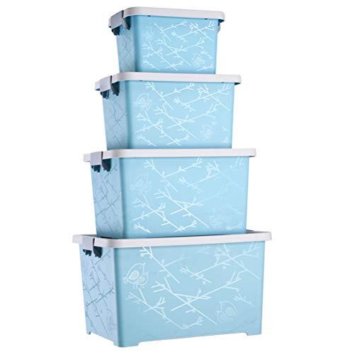 AQSG Boîte De Rangement en Plastique, Paquet De 4, Bac De Rangement Empilable, Blanc, Bleu
