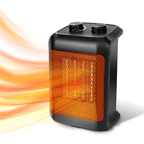 BEYOND BREEZE Space Heater, 1500W Ceramic Portable Electric Heater, Portable Heater with Tip-Over Switch, Overheat Protection, Adjustable Thermostat, Safe for Indoor Use Office Bedroom Bathroom