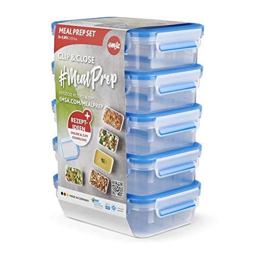 Emsa N10307 Clip & Close Frischhaltedosen-Set 5-teilig | 0,8 Liter | BPA-Frei | Made in Germany | 100 % dicht | spülmaschinenfest | Mikrowellen- und Gefriergeeignet | Blau/Transparent
