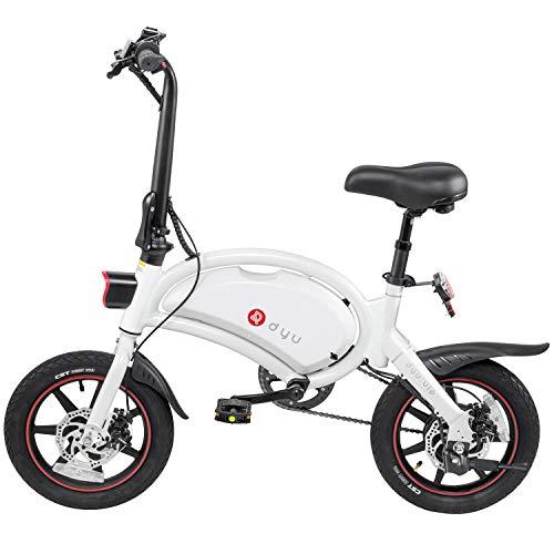 Ancheer - Bicicleta eléctrica plegable de 14 pulgadas, 250 W, 36 V, 10 Ah, capacidad de 15 millas, frenos de disco, ajuste de velocidad App, 18 kg, blanco