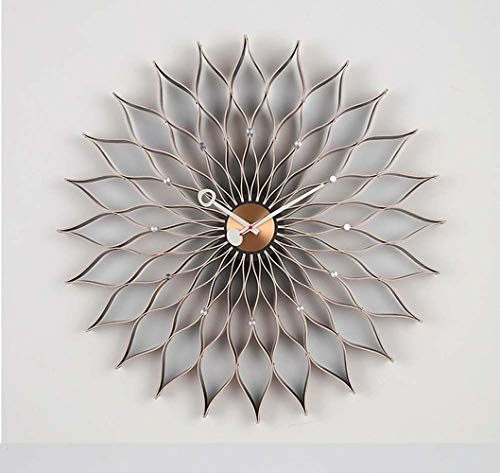 YH Nordic Kreative Sunflower Sunflower Form Hochwertige Ahornmassivholz Dekorative Mute Wanduhr 765 * 765 * 80 Mm (Nussbaum Farbe)